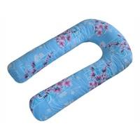 U-образная подушка для беременных голубая с цветами