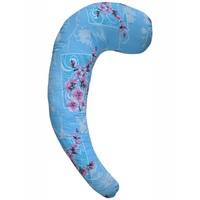 С-образная подушка для беременных голубая с цветами